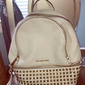 Michael Kors Gold studded Backpack purse in White